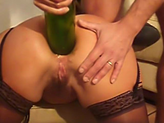 Shoves A Wine Bottle In Her Ass