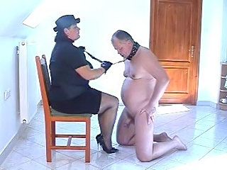 Hot femdom action with submissive chubby hubby
