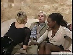 Ebony and ivory fuck each other silly in this mini