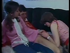 Vintage threesome with two hairy brunette