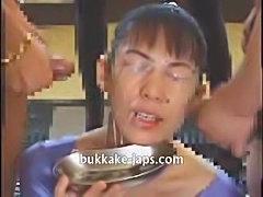 Japanese hardcore bukkake sperm bath with cum drinking finale!!