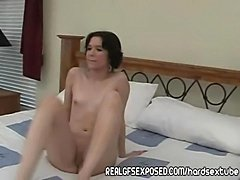 Petite brunette first timer reveals a hungry slut