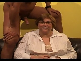 A German BBW granny gets sex off a friend.