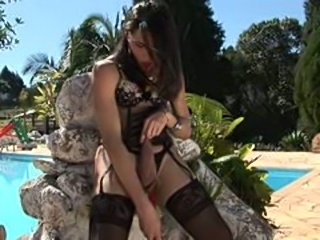 Yasmin Rios dildoing her ass by the pool