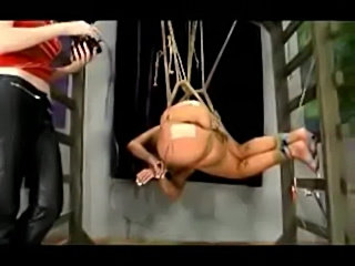 Girl hanging in bondage getting both holes fucked with elect free