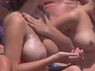 The naked females with balls caught on the beach!