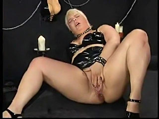 Hard dildo ramming and fisting with fatty