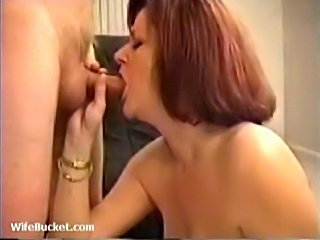 Smoking chick gives head and tit fucks