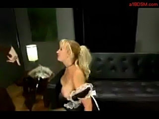 Busty blonde maid whipped licking mistress boots fingering h free