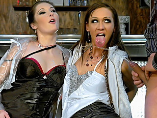 Sexy fully clothed whores bar groupfucking