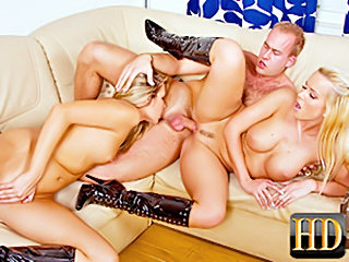 Bitches in boots Threesome thrill on the couch