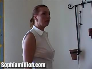 Sophia is spanking a men while he masturbates