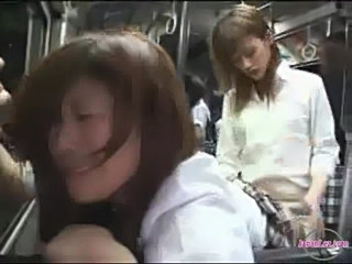 Schoolgirl sucking and fucked with strapon on the bus squirt free