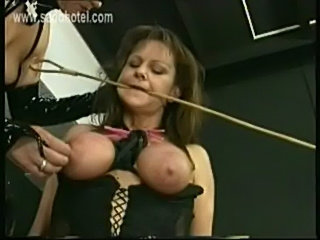 Slave with tied up tits and huge clamps on her pussy got pla free