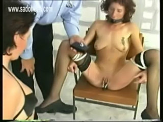 Horny slave sitting in jail got her legs spread and her puss free