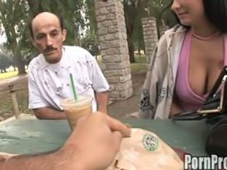 Young hot big tit girl gets dirty doggy style fuck from old man