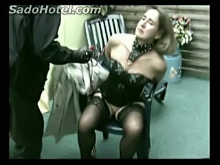 Beautiful older slave got spanked on the ass and tied up to  free