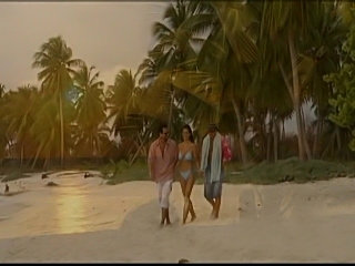 Angle Dark in a Tropical 3way on the beach FMM anal DP
