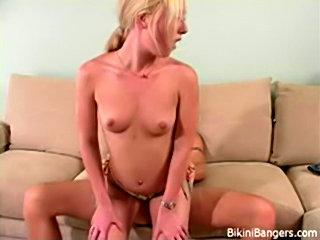 Blonde hottie in bikini fucked hard recieving hot cum