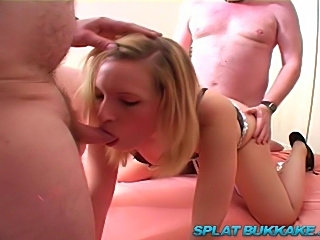 UK Pornobabe newcomer CloverX gets gangbanged by a horny bunch of hard cocked amateurs, before taking more cumshots on her sexy English face