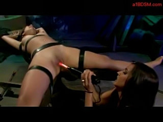 Girl tied to bench getting her pussy fucked with electric di free
