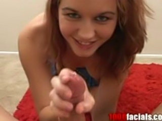 Redhead nympho gives sizzling blow job with facial