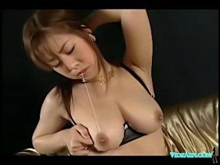 Asian girl in lingerie masturbating fingering herself on the free