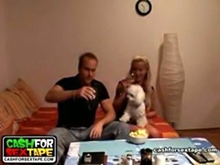 Amateur lovers drink wine, talk and then have the craziest ride session