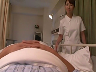 Lactating Japanese nurse milks her tits all over some dudes pixelated cock and jerks him off