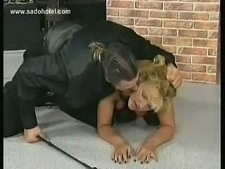 Blond slave with big tits is spanked and got her boobs tied  free
