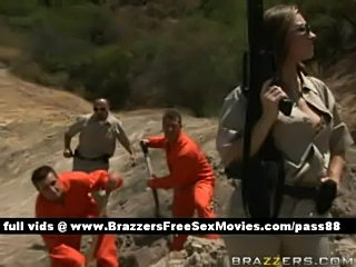 Nasty redhead cop takes care of some prisoners  free