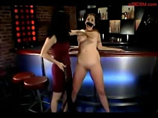 Busty girl spanked whipped by mistress in the bar  free