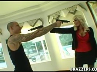 Pornstar takes a huge cock in hostage to fuck