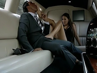 Very classy and sexy brunette fucks and suck in the back of a limo,  Semi dressed, pearls and black dress