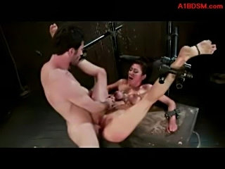 Girl with tied legs and arms getting her pussy fucked stimul free