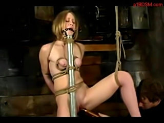Bondaged blonde getting her pussy stimulated with toy by mas free