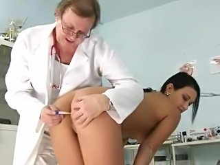 Girl in the doctor's office for gyno exam