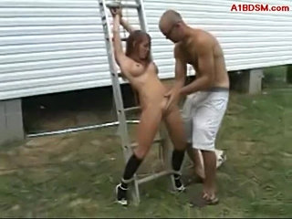 Girl tied to ladder getting her pussy fucked outside  free