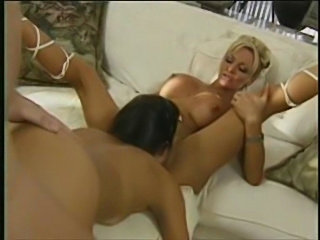 Babe houston on a sofa loving a anal threesome  free