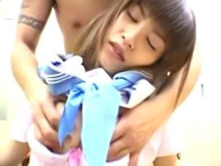 Asian teen in blue sailor uniform fucked by classmate.