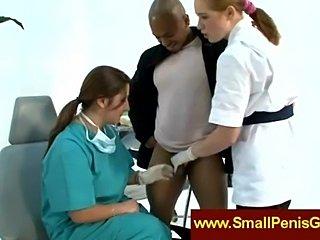 Nurses jerking a small penis