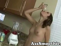 Amber Rayne drinks ass smoothie