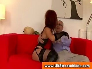 Redhead babe in lingerie sucks old man  free
