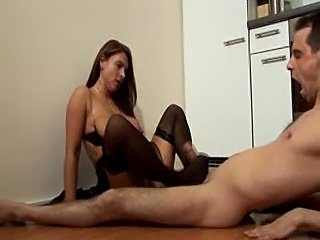nice Housewife big boobs Nylon Legs  Foot cumming Kitchen Pussy Cunt