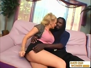 Horny granny does nasty things with black guy  free