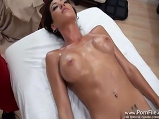 Capri Cavalli our super fine female of the day is backfor another massage. Oily fucks are her forte. She hasthe perfect fucking body which makes her irresistiblybangable. Even though she's married that won't stop hersexy ass from fucking the perverted masseuse