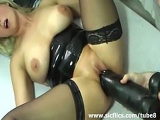 Horny amateur slut fucking a monster black dildo in her loose cun