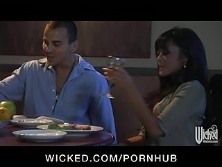 Horny brunette Asian slutty wife has tight pussy fucked at dinner
