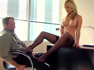 Hot blonde secretary fucked on desk