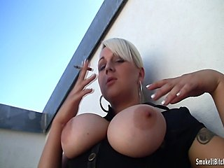 Watch our latest busty smoking amateur! Bridgette! Newest addition to the SmokeItBitch! Hot busty blonde really loves smoking... watch her sloooowly inhaling!